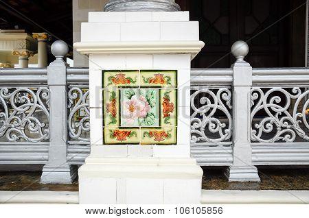 Column decorative at Kampung Kling Mosque at Malacca, Malaysia