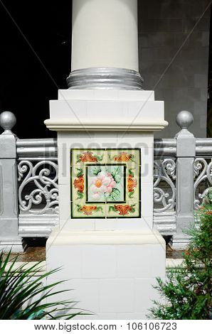 Column decorative detail at Kampung Kling Mosque at Malacca, Malaysia