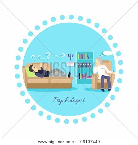 Psychologist Concept Icon Flat Isolated
