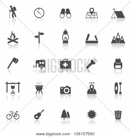 Trekking Icons With Reflect On White Background