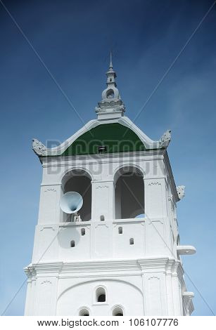 Minaret of Kampung Kling Mosque at Malacca, Malaysia