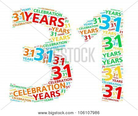 Colorful word cloud for celebrating a 31 year birthday or anniversary