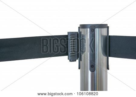 Barricade With Black Polyester Isolate On White Background