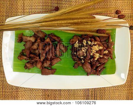 Fried pork in a dish