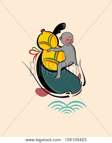 Japanese folk-art from Otsu - Monkey with a gourd on catfish