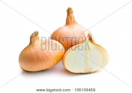 halved fresh onion on white background
