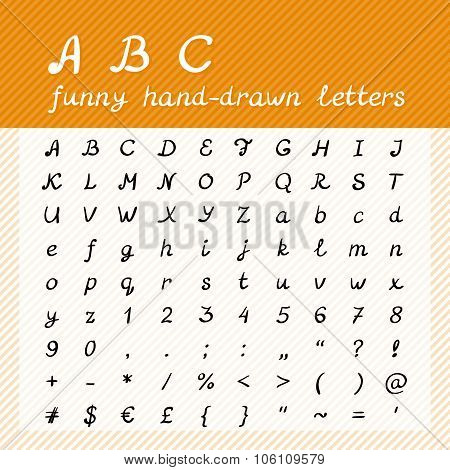 Hand Drawn Abc - Funny Alphabet Letters