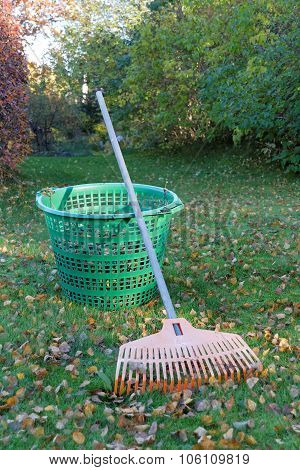 Rake, Leafs And Green Basket
