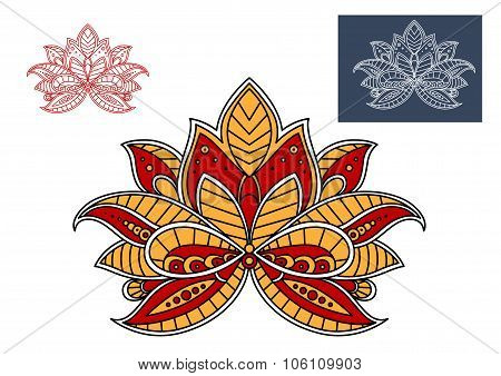Orange and red persian paisley flower
