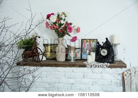Interior Design Vases With Flowers And Candles Clock Brick Fireplace