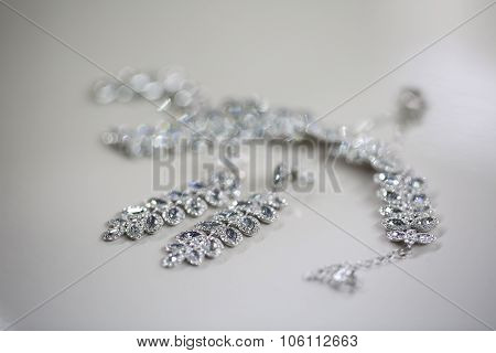 Elegant Crystal Ear-rings For The Bride On Isolated Background