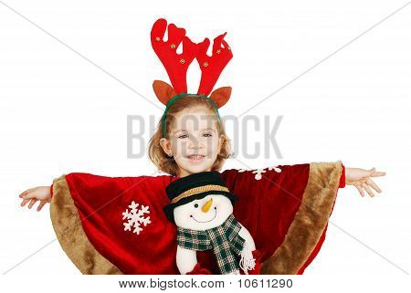 little girl with snowman on dress ready for christmas