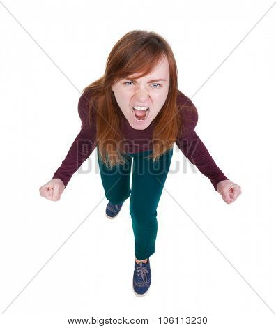 Top view of the furiously screaming, angry woman. Isolated on white background.