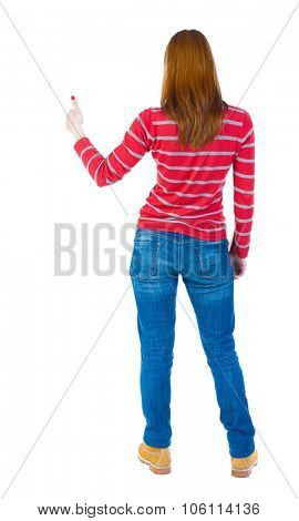 Back view of  woman thumbs up. Rear view people collection. backside view of person. Isolated over white background. The girl in a red striped sweater with long sleeves showing thumb up.