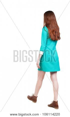 side view of walking  woman in dress. beautiful girl in motion.  backside view of person.  Rear view people collection. Isolated over white background. Girl in retro dress out right away