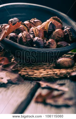 Roasted Chestnuts And Leaves