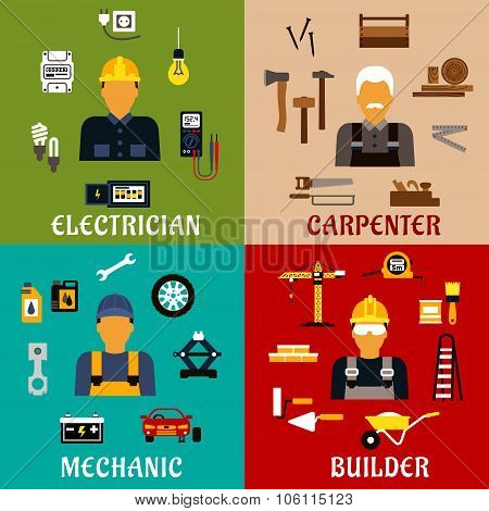 Builder, electrician, mechanic and carpenter icons