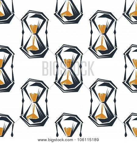 Seamless hourglasses pattern on white background