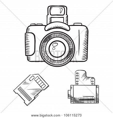 Photo camera, memory card and film roll sketches
