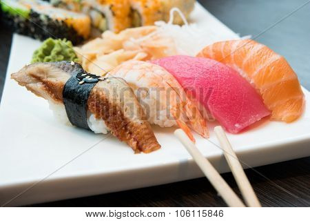Fresh sushi served in a japanese restaurant