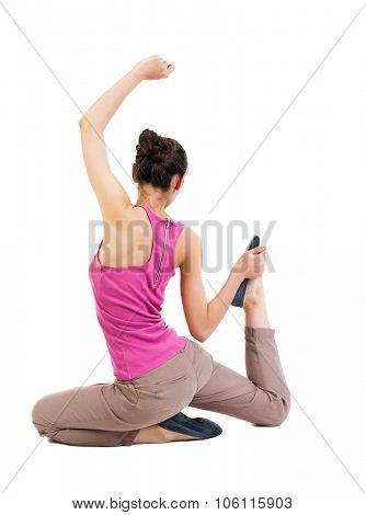 Back view of the girl sitting in front of a warm up exercise.  Rear view people collection.  backside view of person.  Isolated over white background. African-