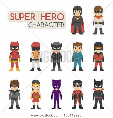 Set Of Super Hero Costume Characters