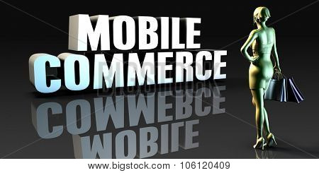 Mobile Commerce as a Concept with Lady Holding Shopping Bags