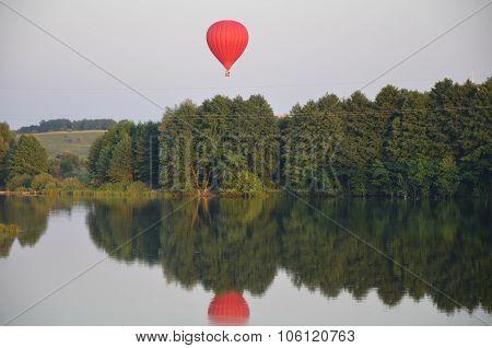 Aerostat on a lake