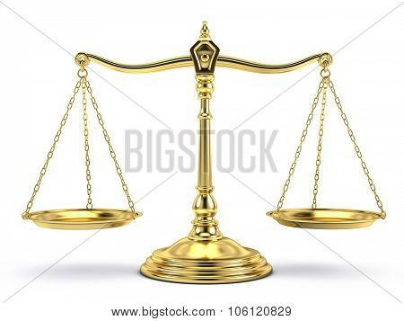 Justice, law, decisions concept - Balanced gold scale isolated on white