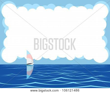 Postcard With Sea And Sailboat