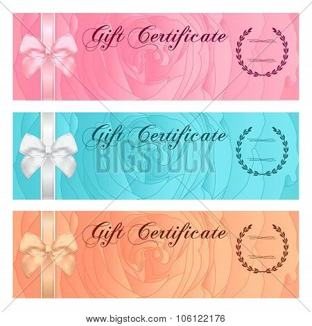 Gift certificate, Voucher, Coupon, Reward, Ticket template with Bow (ribbon)
