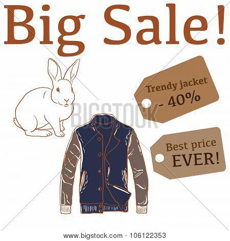 Big Sale illustration with rabbit, mens jacket and labels