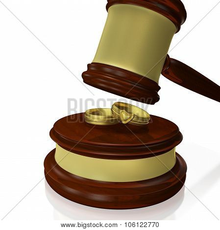 Wedding Rings Judge Gavel Mallet
