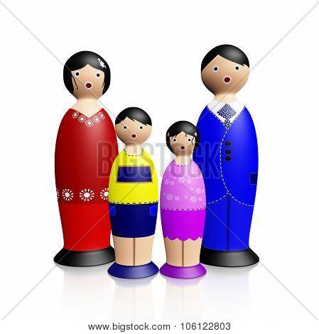 Wooden Dolls Family