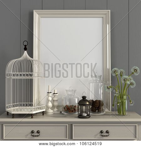 Beige Table With Poster Frame And Autumn Decorations