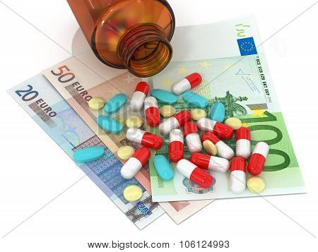 3 Types Of Pills Lying On Euro Banknotes And Bottle Of Pills On A White Background