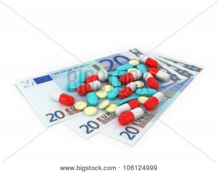 3 Bills In Denominations Of 20 Euros Which Pills Scattered On A White Background.