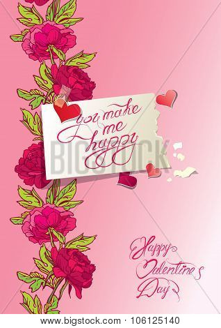 Vintage Card, Hearts And Old Paper Peace With Handwritten Calligraphic Text - You Make Me Happy, On