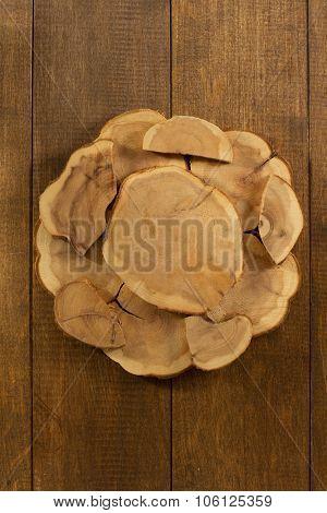 board stump on wooden background