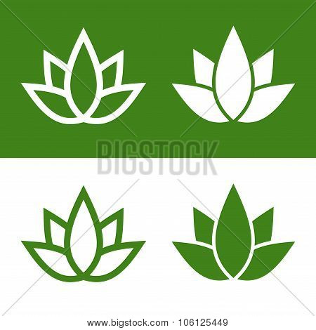 Green Lotus Plant Icon Set Logo. Vector
