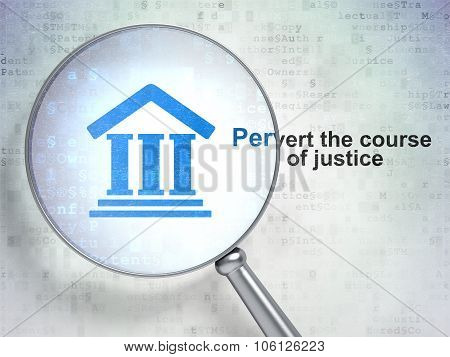 Law concept: Courthouse and Pervert the course Of Justice with optical glass