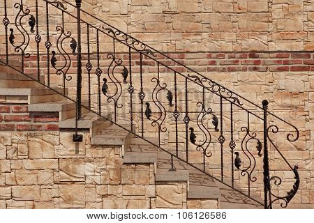 Modern Vintage Style Stone Staircase With  Wrought Iron Ornate Handrail