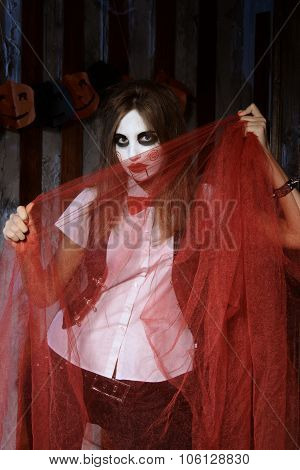 Witch Is Hiding Behind The Red Transparent Cloth.