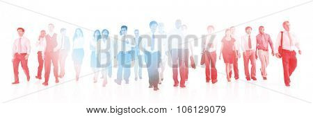 Large Group of Business People Walking Concept