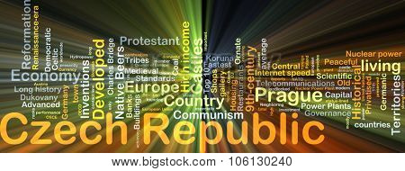 Background concept wordcloud illustration of Czech Republic glowing light