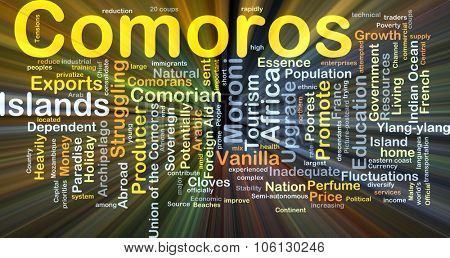 Background concept wordcloud illustration of Comoros glowing light