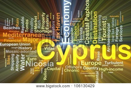 Background concept wordcloud illustration of Cyprus glowing light