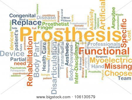 Background concept wordcloud illustration of prosthesis