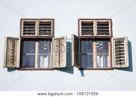 Two Windows From A House In Viscri, Transylvania