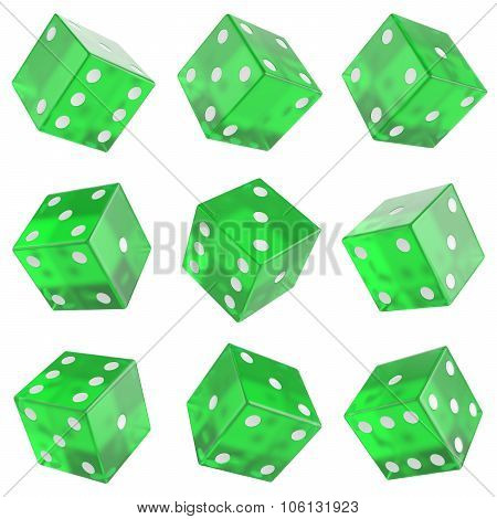 set green glass dice
